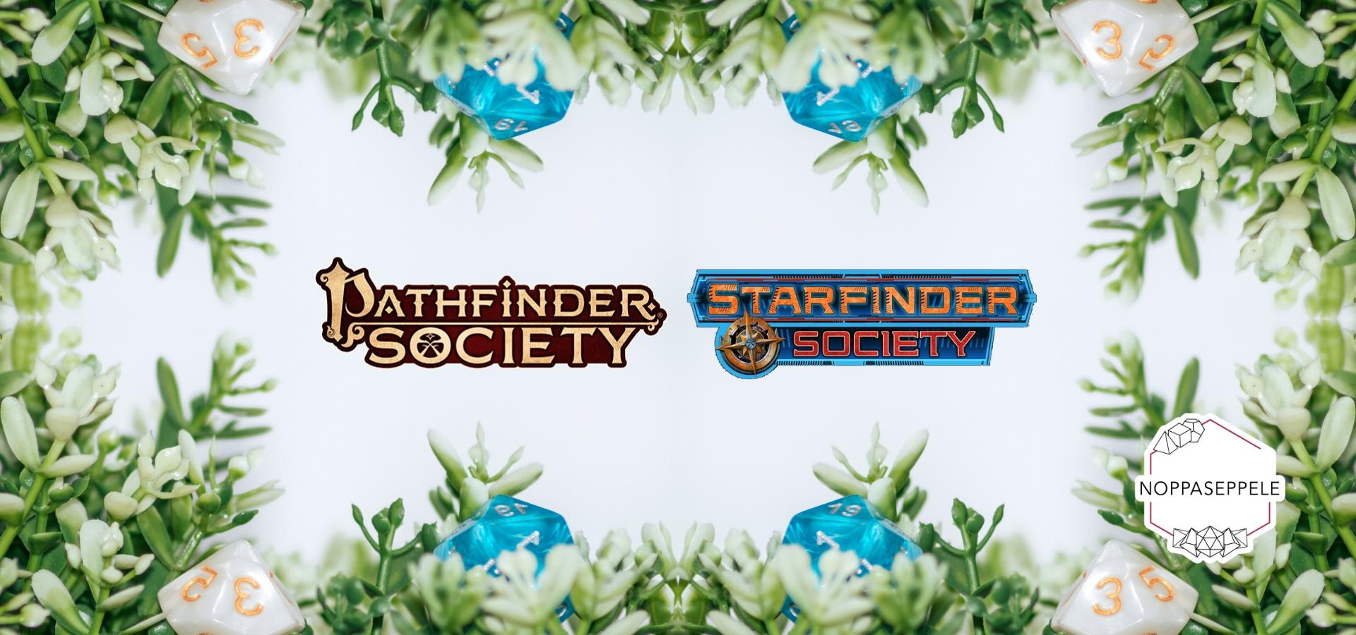 Pathfinder ja Starfinder Societyn logot, taustalla noppia ja viherkasveja