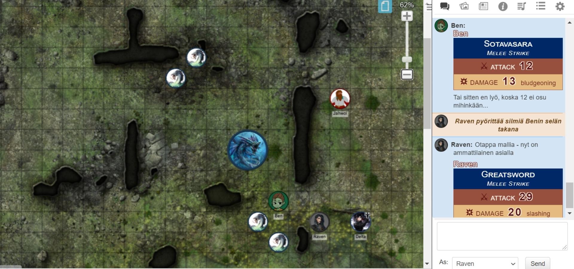 Roll20 käytössä. Kartta, jolle on aseteltuna hahmojen tokenit sekä chat-ikkuna